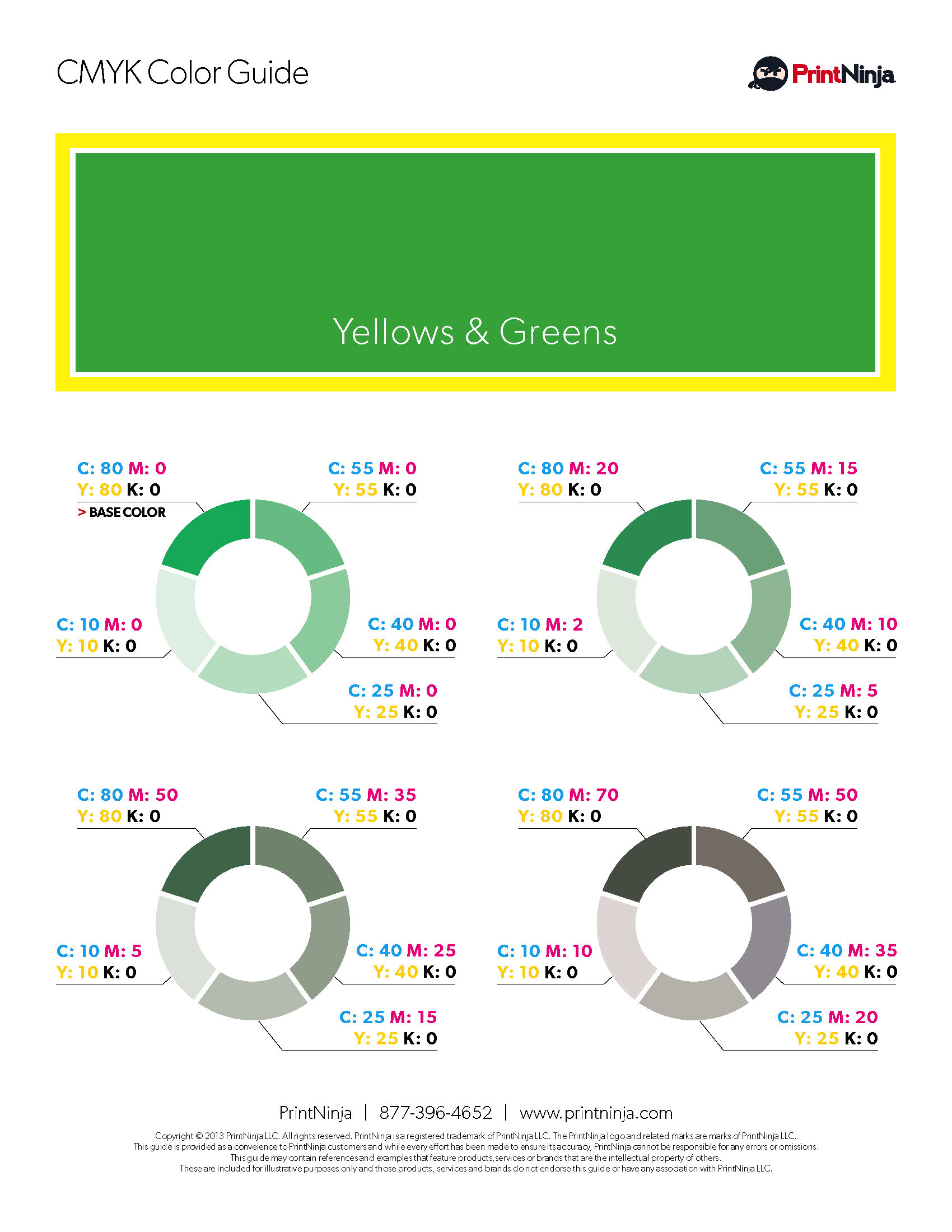 CMYK Suggested Values and Formula Charts