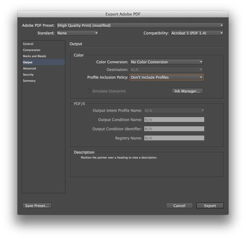 Adobe InDesign Book Print File Setup Profiles